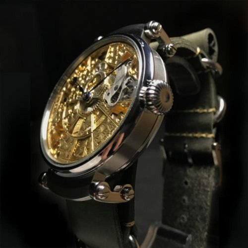 Omega One of a Kind Wrist Watch Combining Antique Signed and Numbered Movement with a Modern Custom Made Skeleton Case
