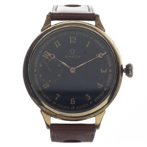 Omega Vintage Wristwatch Black Dial Vermeil Case