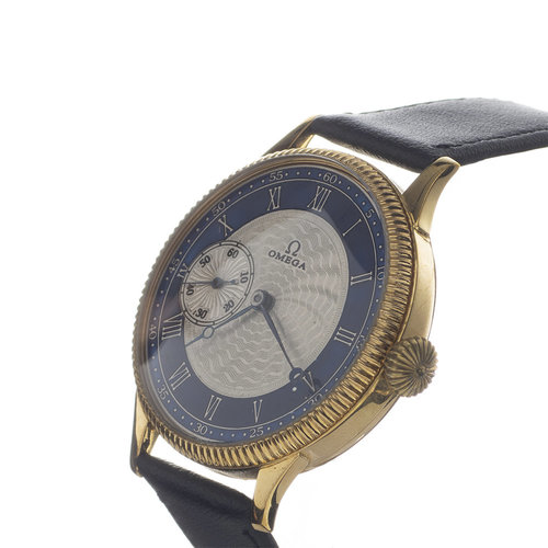 Omega Antique Hand Engraved Dial with a Beveled Gold Vermeill Case