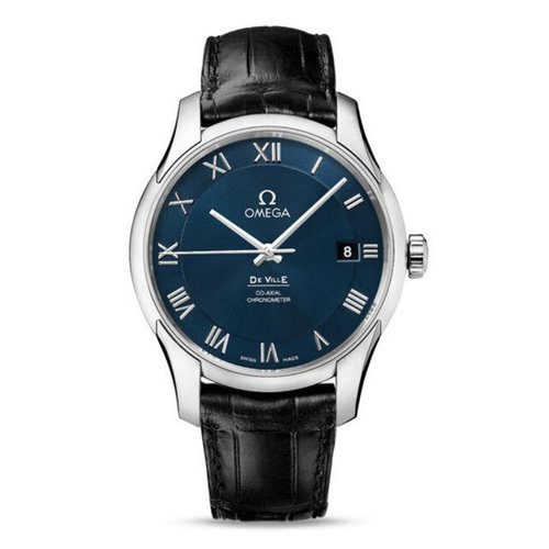 Omega De Ville Automatic Steel Mens Strap Watch Blue Dial