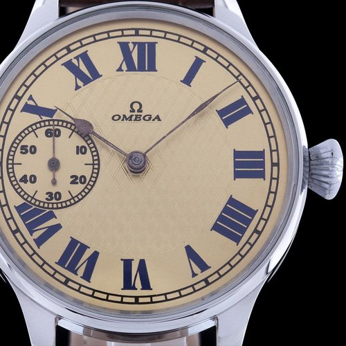 Omega Pre-1920's  Movement with New Guilloche Dial and Case