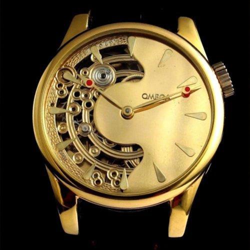Omega Vintage 1921 Movement with New Custom Half Skeleton Gold Case