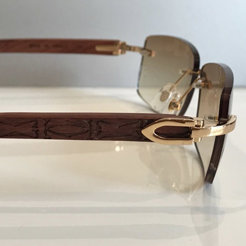Cartier Wooden C Decor Sunglasses