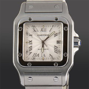 Cartier Santos Gablee Automatic Stainless Steel Automatic Silver Dial