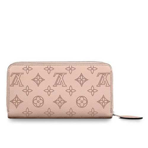 Louis Vuitton Zippy Wallet Magnolia Mahina Calf Leather with Refined Monograph Perforations