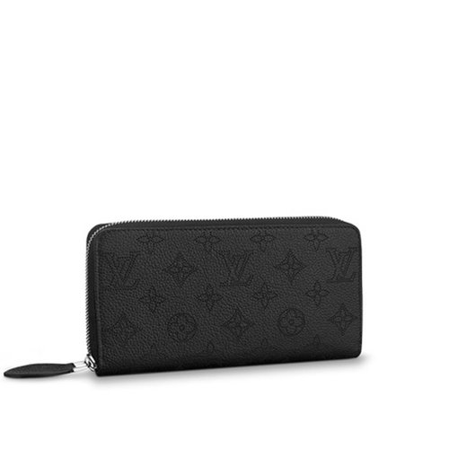 Louis Vuitton Zippy Wallet Black Mahina Calf Leather with Refined Monogram Perforations
