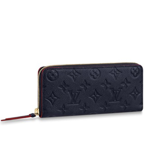 Louis Vuitton Clemence Wallet - Monogram Empreinte Navy Leather with Red Contrast Trim