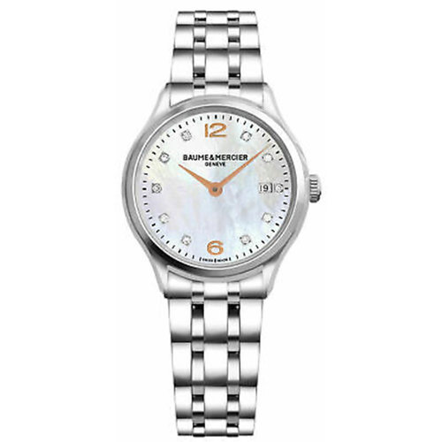 Baume & Mercier Clifton Diamond Dial Stainless Steel Ladies Watch