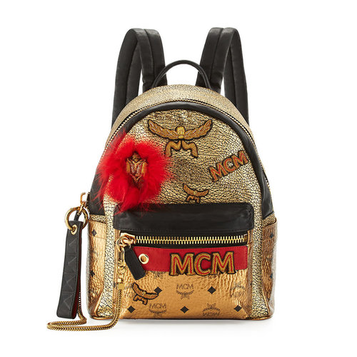 MCM Stark Small Leather Insignia Backpack, Gold