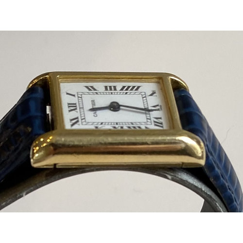 Cartier Cartier Tank Classic Gold Plated Mechanical Watch White Roman Dial