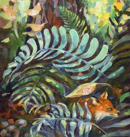 Jennifer Cook-Chrysos Chrysos Designs Artworks, Fine Art Print-Ferns and Fox, 16 x 20