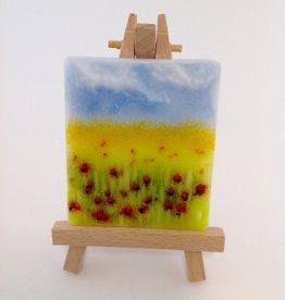 Ann Mackiernan Mini Fused Glass Powder Painting - Poppy Field