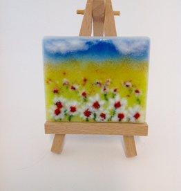 Ann Mackiernan Mini Fused Glass Powder Painting - Field of Daisies