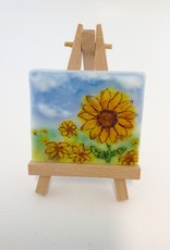 Ann Mackiernan Mini Fused Glass Powder Painting - Sunflowers