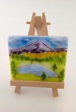 Ann Mackiernan Mini Fused Glass Powder Painting- Mount Rainier