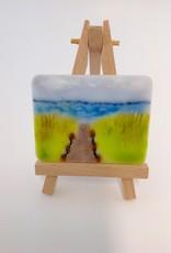 Ann Mackiernan Mini Fused Glass Powder Painting - Oregon Coast