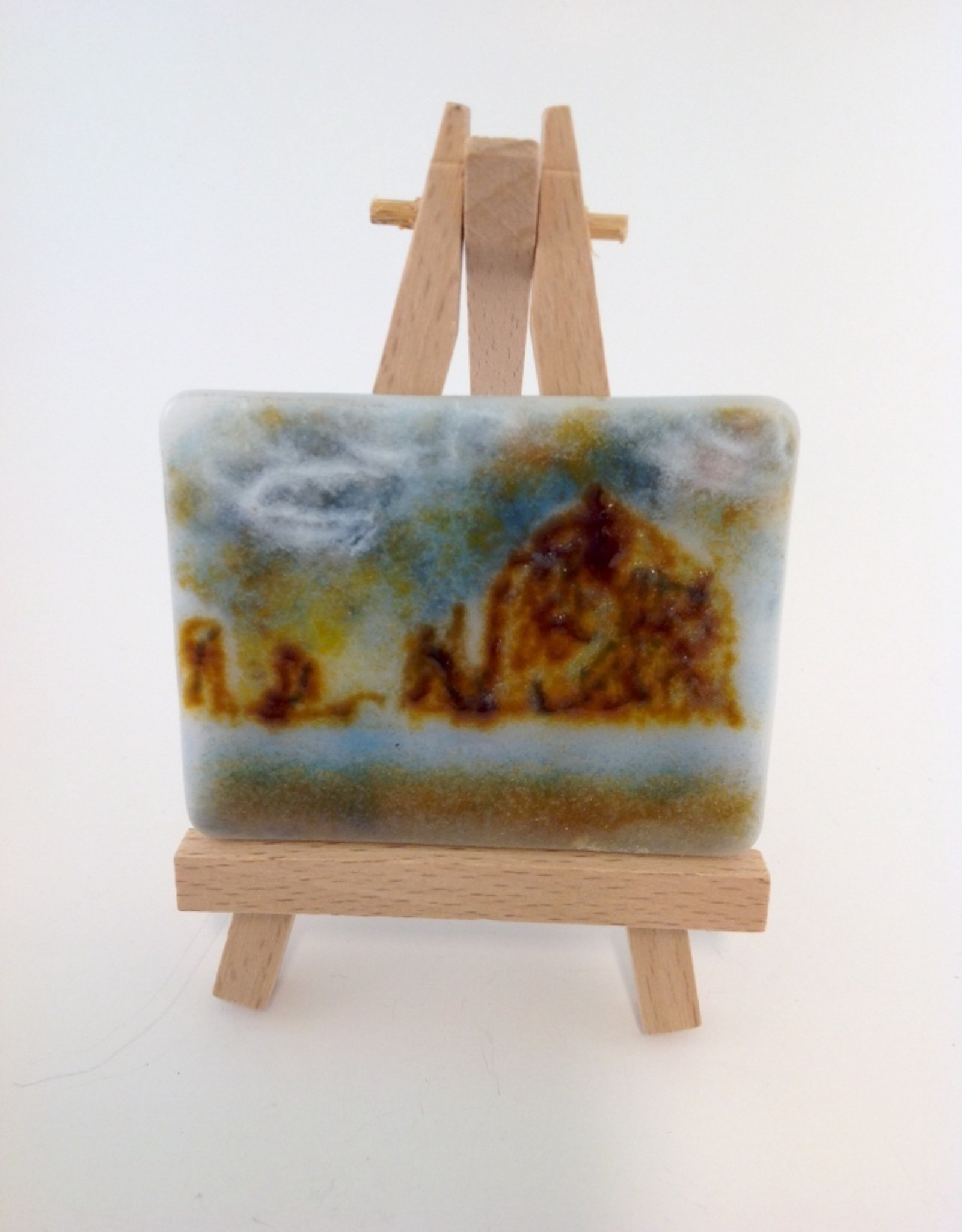 Ann Mackiernan Mini Fused Glass Powder Painting - Haystack Rock