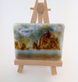 Ann Mackiernan Mini Fused Glass Powder Painting - Haystack Rock