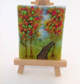 Ann Mackiernan Mini Fused Glass Powder Painting - Fall Trail