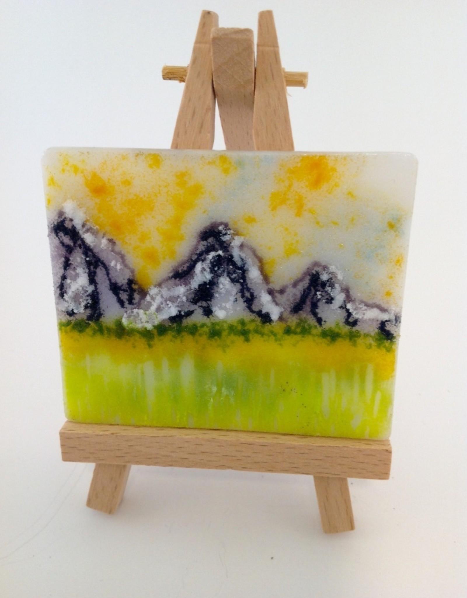 Ann Mackiernan Mini Fused Glass Powder Painting - Purple Mountains