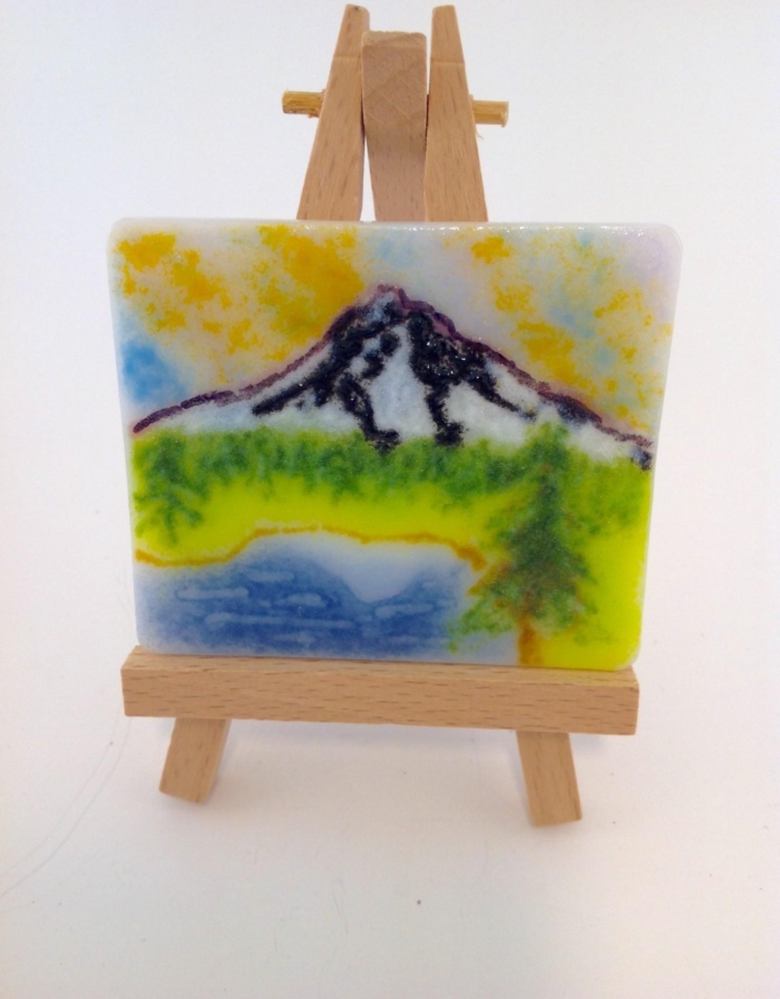 Ann Mackiernan Mini Fused Glass Powder Painting - Mount Hood