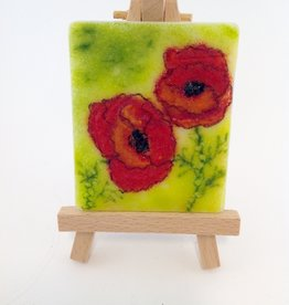 Ann Mackiernan Mini Fused Glass Powder Painting - Poppies