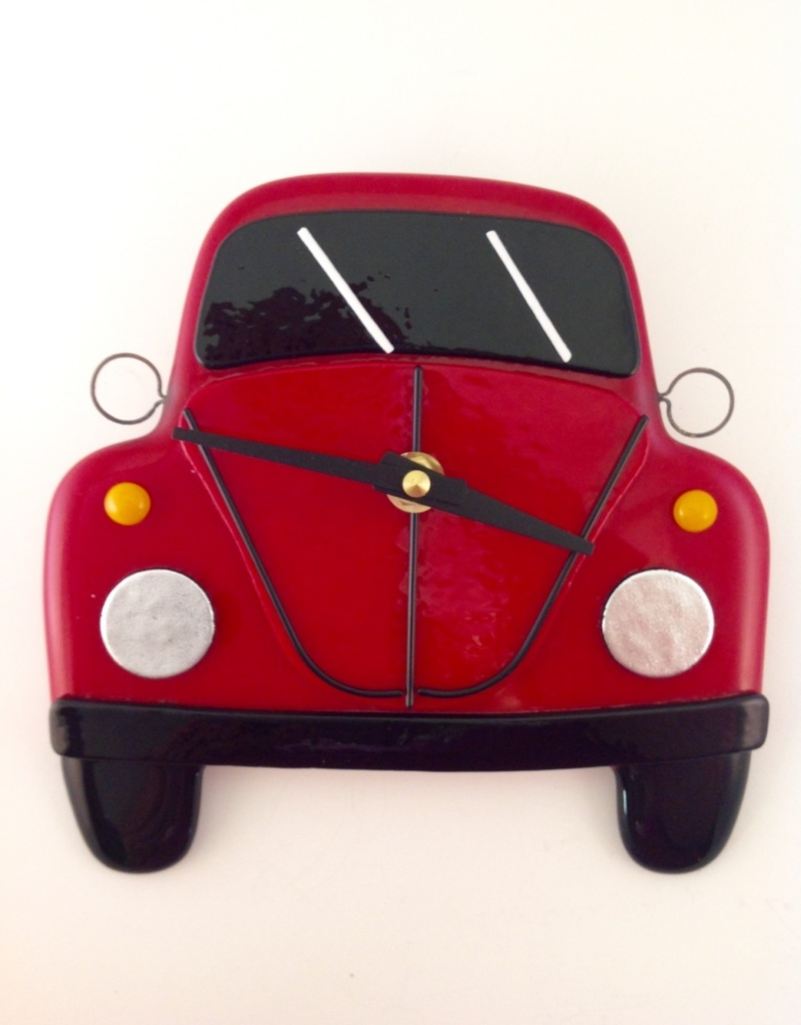 Ann Mackiernan Clock - VW Bug Fused Glass - Red