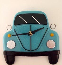 Ann Mackiernan Clock - VW Bug Fused Glass - Teal