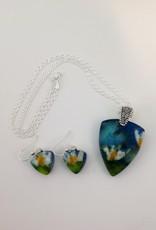 Ann Mackiernan Fused Glass Pendant & Earring Set - PE1