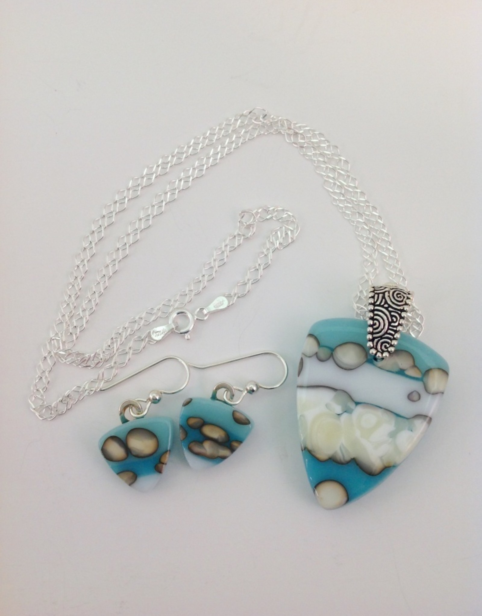Ann Mackiernan Fused Glass Pendant & Earring Set - PE2