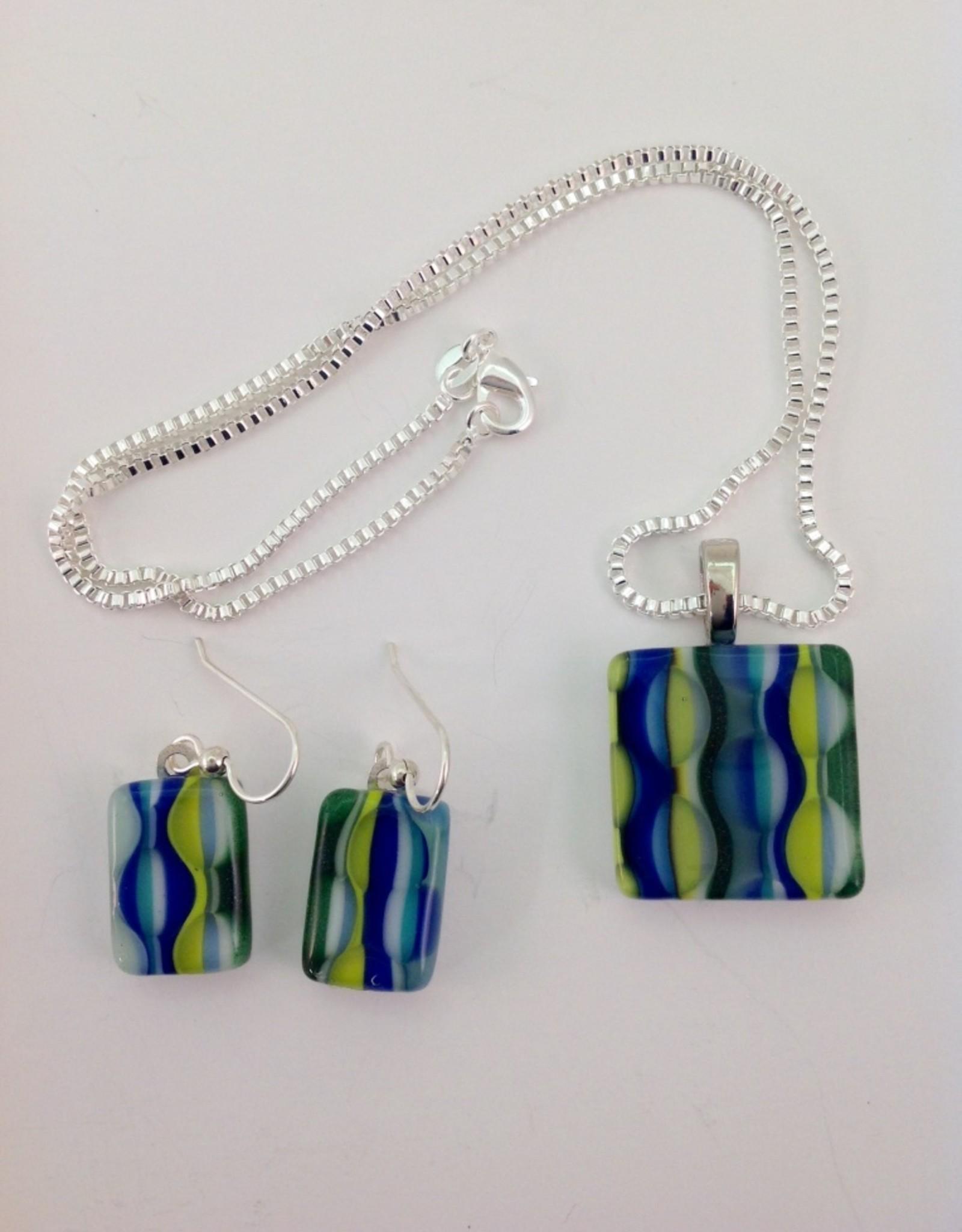 Ann Mackiernan Fused Glass Pendant & Earring Set - PE3