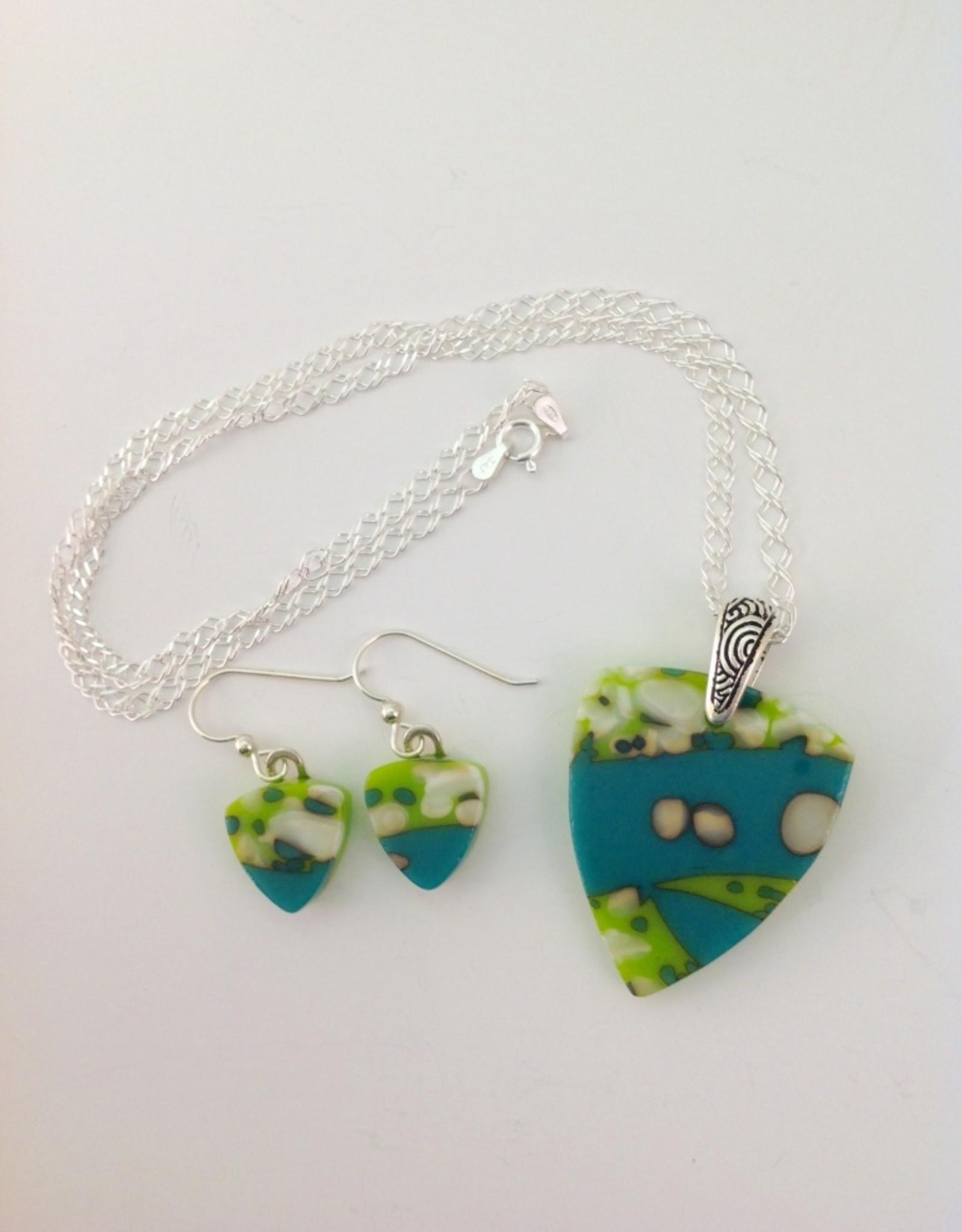 Ann Mackiernan Fused Glass Pendant & Earring Set - PE4