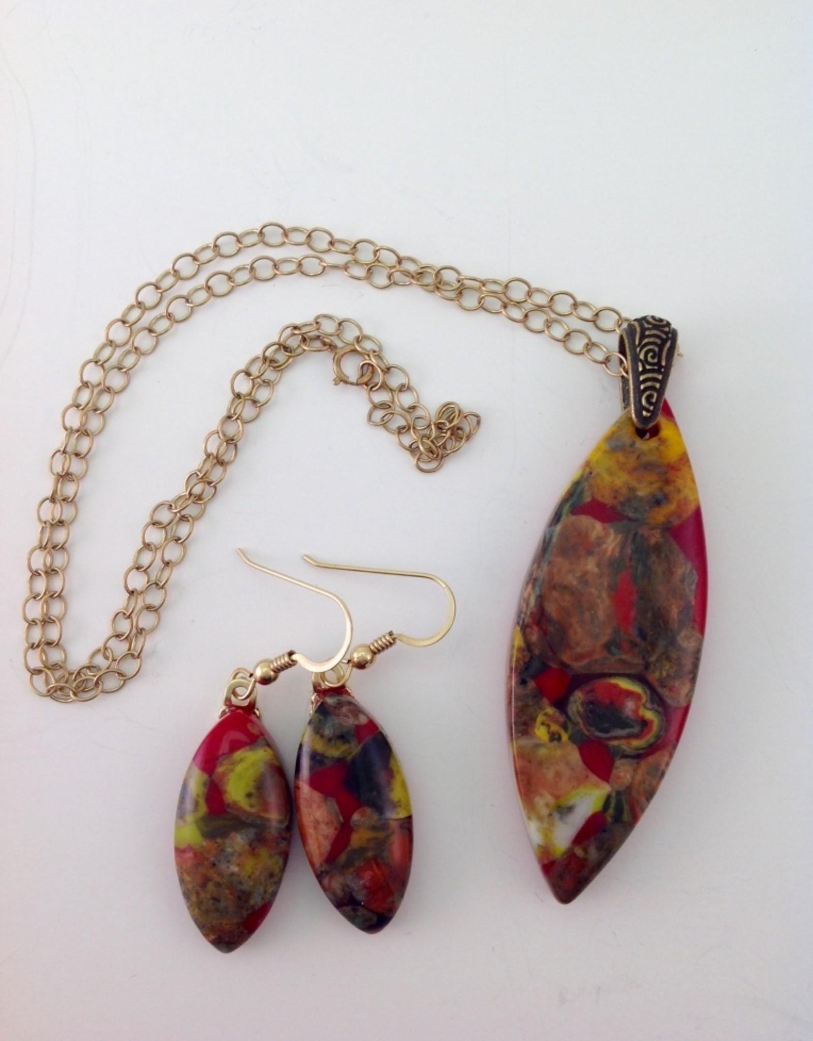 Ann Mackiernan Fused Glass Pendant & Earring Set - PE6