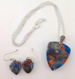 Ann Mackiernan Fused Glass Pendant & Earring Set - PE7