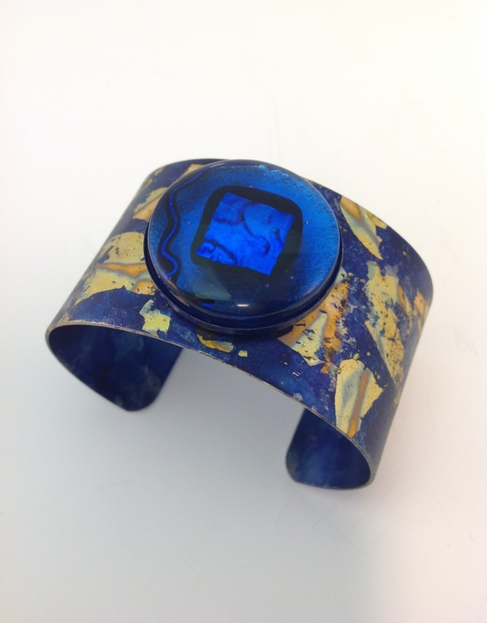 Ann Mackiernan Cuff with Varigated Copper Leaf and Glass Cabochon- Navy