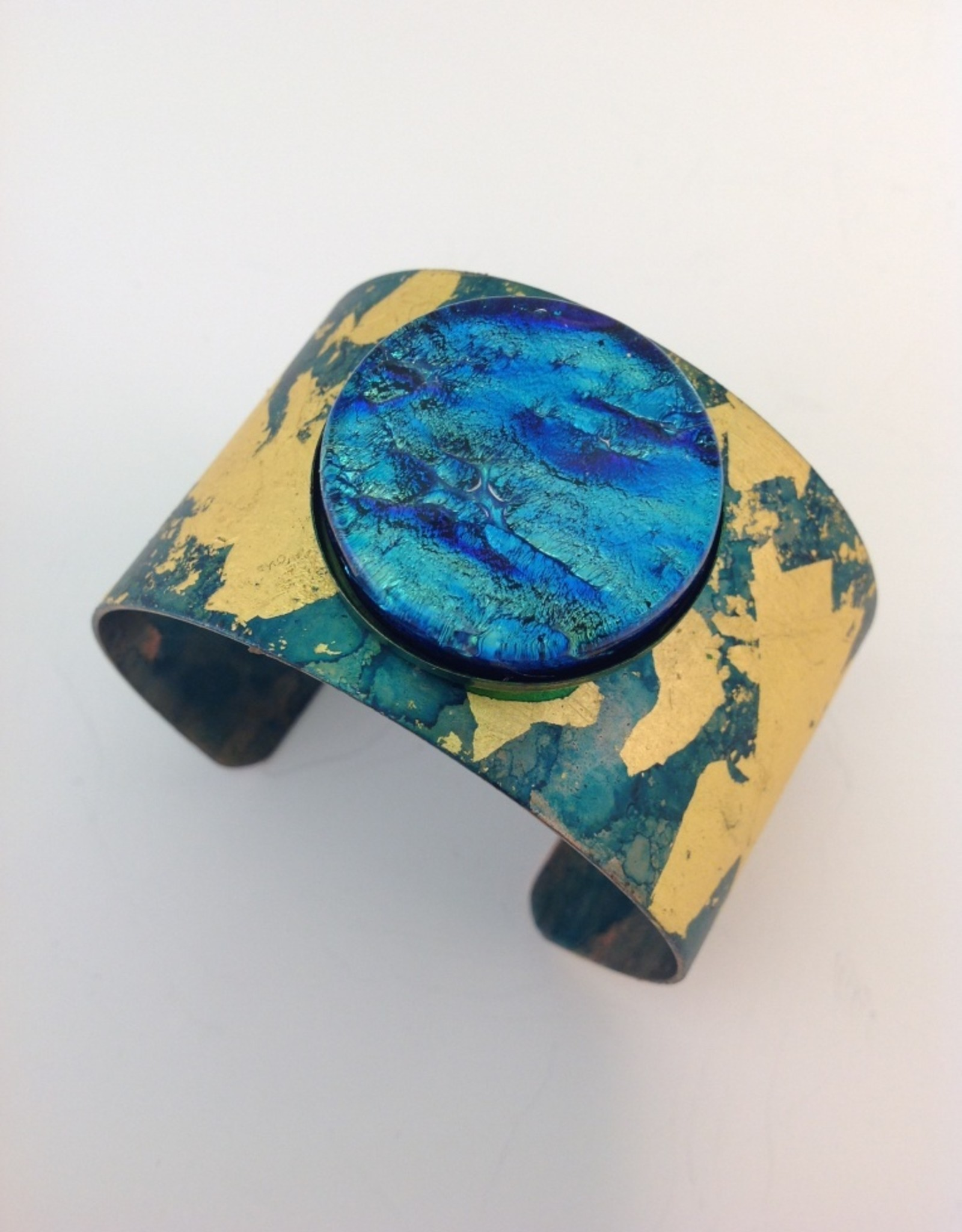 Ann Mackiernan Cuff with Gold Leaf and Glass Cabochon - Teal