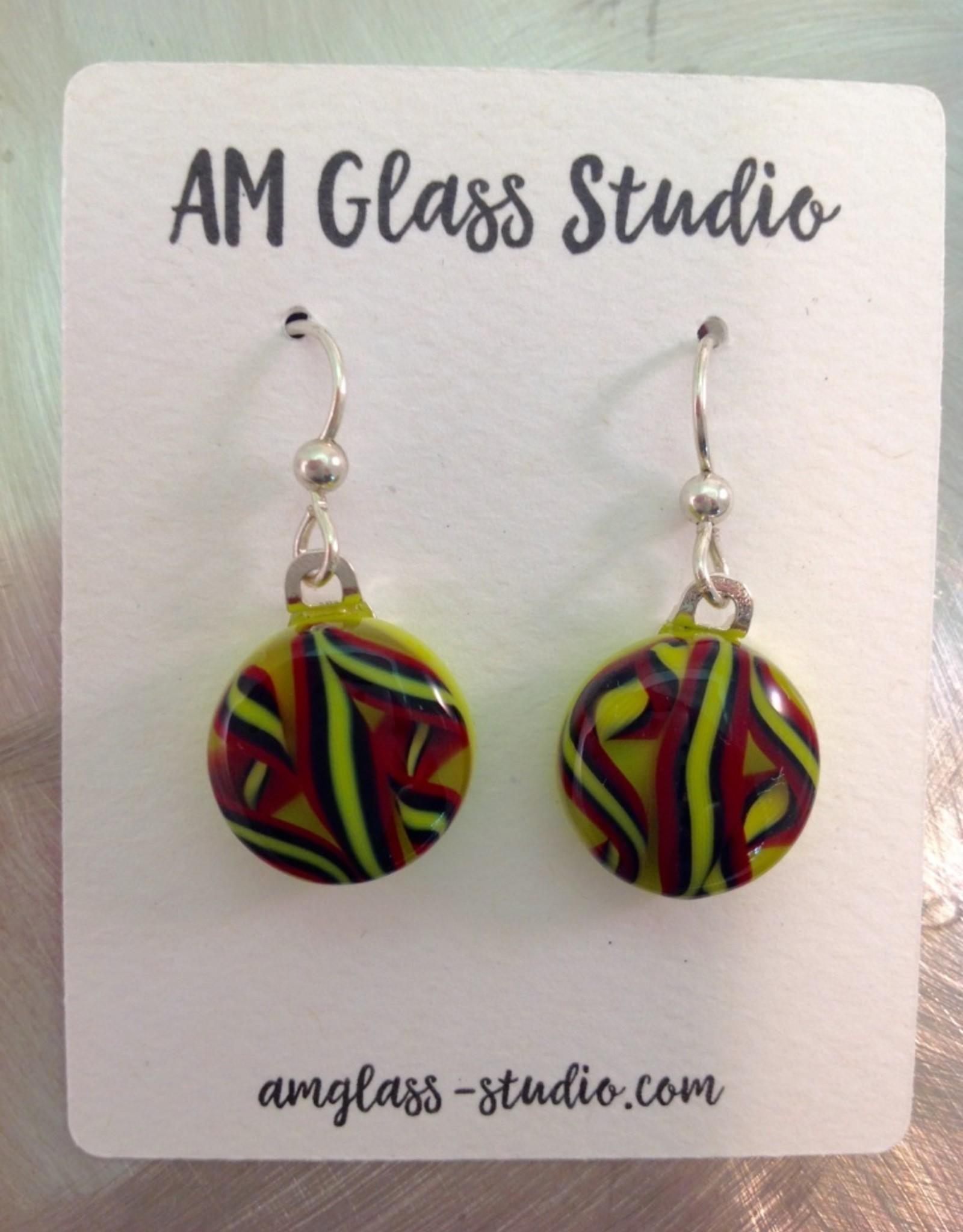 Ann Mackiernan Fused Glass Earrings Medium - M14