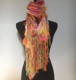 Ammi Brooks Shaggy Nuno Felted Orange Print scarf