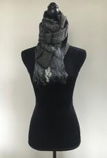 Ammi Brooks Geometric Grey and Black Merino wool Nuno Felted scarf