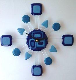 Ann Mackiernan Clock - GeoRetro Fused Glass - Blue