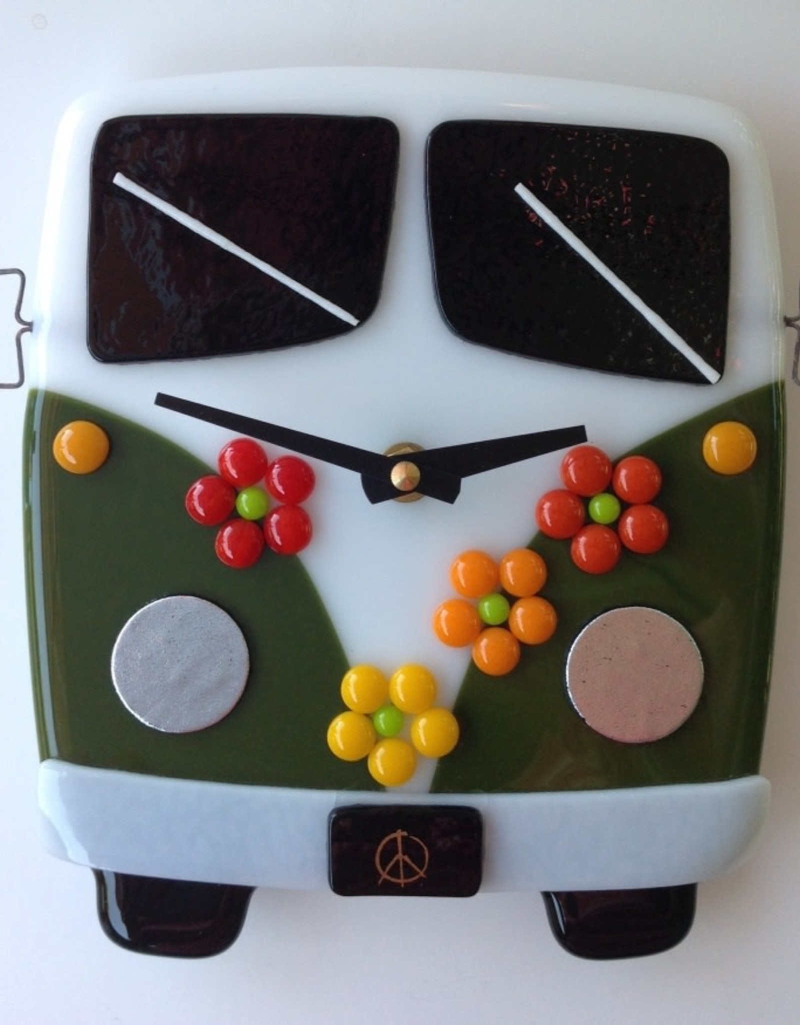 Ann Mackiernan Clock - VW Time Traveler Fused Glass - Green