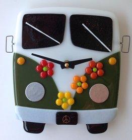 Ann Mackiernan Clock - VW Time Traveler Fused Glass - Green