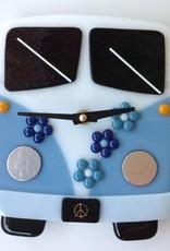 Ann Mackiernan Clock - VW Time Traveler Fused Glass - Blue