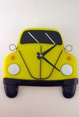 Ann Mackiernan Clock - VW Bug Fused Glass - Yellow
