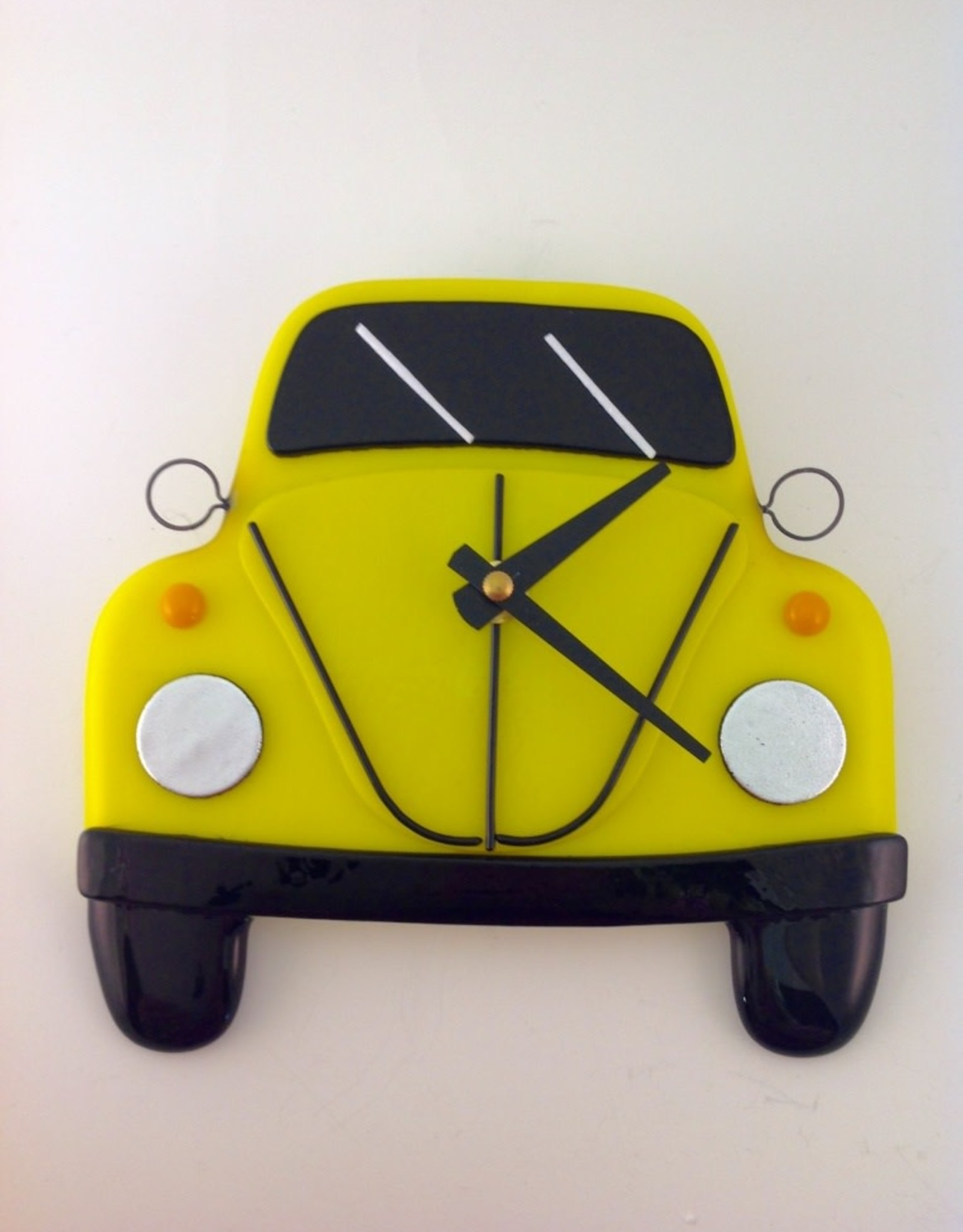 Ann Mackiernan Clock - VW Bug Fused Glass - Yellow