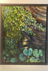 "Jennifer Cook-Chrysos Chrysos Designs Artworks, ""Mossy Stump"", oil on canvas, 11 x 14, framed"