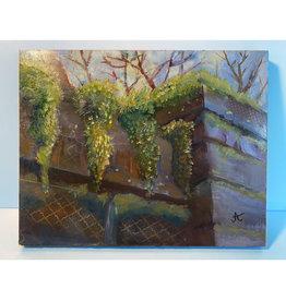 "Jennifer Cook-Chrysos Chrysos Designs Artworks, ""Mossy Wall"", mixed media on panel, 11 x 14"