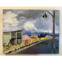 Jennifer Cook-Chrysos Chrysos Designs Artworks, Street with Clouds, mixed media on panel, 11 x 14