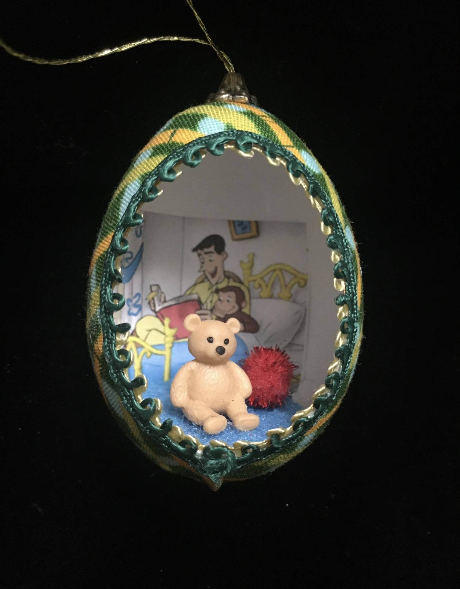 Ammi Brooks Curious George Real Egg Ornament w/ Teddy Bear