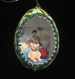 Ammi Brooks Curious George Real Egg Ornament w/ Teddy Bear